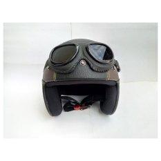 Harga Termurah Helm Retro Vespa Kulit Clasic Kacamata