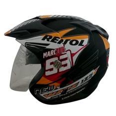 Toko Helmet Double Visor 2 Kaca Marquez Repsol Honda Dmn Black Doff Lengkap