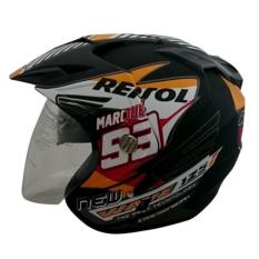 Helmet Double Visor (2 kaca) Marquez Repsol Honda DMN - Black Doff