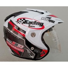 [ Promo Akhir September ] Helmet Double Visor Dua Kaca Helem Racing Marc Marquez Kualitas Setara helm KYT INK GM WTO MSR BMC NHK - Putih Hitam Glossy