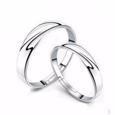 Hequ 1 Pasang Pria Wanita Solid Perak Kekasih Beberapa Cincin Pernikahan Band Nya And He Berjanji Cincin