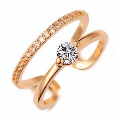 Hequ 18 K Rose Emas Plated Fashion Resizable Pernikahan Cincin Pertunangan AAA CZ Berlian Perhiasan untuk Wanita AS-Intl