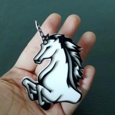 Hequ Cute Mini Kepala Kuda Unicorn Bros Pins Fashion Perhiasan Grosir Hadiah Bagus Hitam dan Putih Fashion-Intl