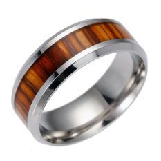 Hequ Eropa dan American Populer Pernikahan Cincin Bertatahkan Jati Medis Stainless Steel Perhiasan Cincin Baja Titanium-Intl
