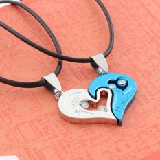 Hequ Fashion Lover Couple Necklace I Love You Berbentuk Hati Pendant Kalung Stainless Steel Blue-Intl