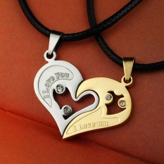 Hequ Fashion lover couple necklace I love you heart-shaped pendant necklace stainless steel Gold - intl
