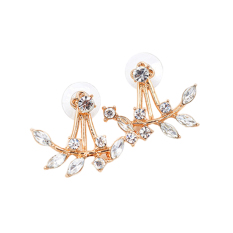 Hequ Depan dan Belakang Daun Zirkon Diamond Stud Earrings (GOLDEN)