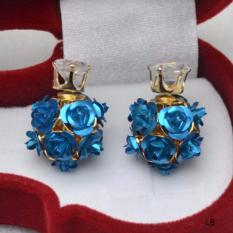 Hequ High Quality Fashion Simple Sweet Rose Flower Earring Europe America Popularity The Flowers Double Earring