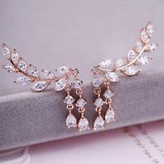 Hequ Fashion Wanita Berkualitas Tinggi Emas Berlapis Perak Perhiasan Anting Tindik Telinga Daun Rumbai Kristal Emas-ต่างประเทศ