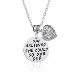 Hequ Perhiasan Inspirasional Dia Percaya Bahwa Dia Bisa Melakukannya Kalung Putri Suster Teman Wisuda Ibu-Intl