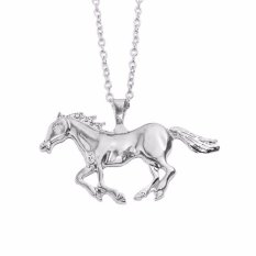 Hequ Min 6 Baru Kalung Mode untuk Wanita Nuansa Emas Perak Perhiasan Liontin Kuda Berlari Gold-Intl