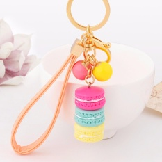 Hequ Baru Kreatif Macarons Cake Hot Gantungan Kunci Hide Rope Pendant Fashion Gantungan Kunci Mobil Keyrings Aksesoris Wanita-Intl