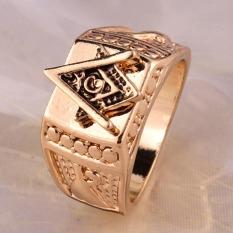 Hequ Panas Baru Pria Fashion Perhiasan Tusk Crystal Masonic Lodge Freemason Cincin .
