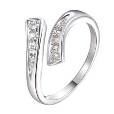 Hequ Baru Daftar Perak Berlapis Cincin Modis Perhiasan Pengiriman Gratis Dirancang Pembukaan Wanita Wanita Pernikahan Pembukaan Lingkaran-Internasional