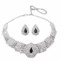 Hequ Baru Pernikahan PestaBridal Hitam Diamante Crystal Earrings Set Perhiasan Prom 04 JC Kalung Perhiasan Set