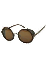Miliki Segera Hequ Retro Steampunk Round Sunglasses Bronze Tea