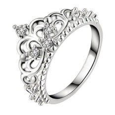 Hequ Ring Silver Plated White Gold Ring Crown Royal Temperament Jewelry Ring Silver-7 - intl