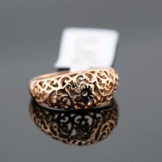 Hequ Top Quality Flower Hollowing Craft 18 K Rose Plated Cincin Fashion Jewelry Ukuran Penuh Grosir