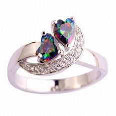 Hequ Cincin Kawin Fashion Perhiasan Jantung Memotong Rainbow & Putih Berlian Imitasi Cincin Perak Ukuran 6 7 8 9 Muti Warna-8