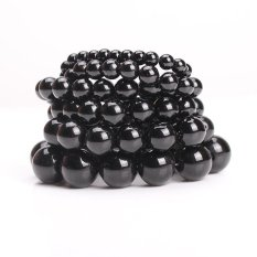 Nya Mia 14mm Handmade DIY Buddha Manik-manik Gelang untuk Wanita Imitasi Buatan Obsidian Crystal Jewelry Charm Bracelet (Hitam) -Intl