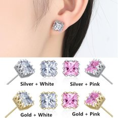 Nya Mia 6mm Square Pink CZ Diamond Mahkota Wanita Fashion Jewelry SILVER DISEPUH Stud Earrings (Emas + Pink) -Intl