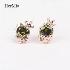 Nya Mia Kepala Tengkorak Kristal Mahkota Wanita Stud Earrings Perhiasan Aksesoris (Hijau)-Intl
