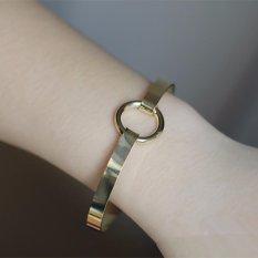 Nya Mia Hot Sale Sederhana Kepribadian Wanita Wanita Fashion Paduan Pesona Bangle Gelang Perhiasan dengan Round Loop (Emas) -Intl