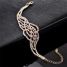 Nya Mia Baru A Sederhana Kepribadian Wanita Wanita Fashion Diamond Crystal Charm Bangle Gelang Perhiasan (Emas)-Intl