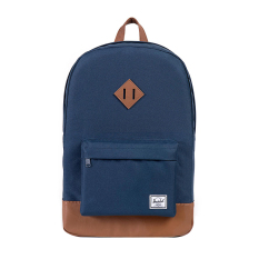 Review Herschel Heritage Classic Backpack Navy Tan Synthetic Leather