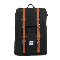 Jual Herschel Little America Mid Volume Classic Backpack Hitam Tan Synthetic Leather Baru