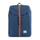 Beli Herschel Post Classic Backpack Navy Tan Synthetic Leather Online Terpercaya