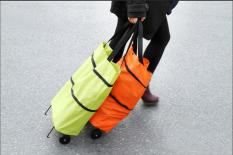 HETU Hadiah Terbaik untuk Ibu Tunda Portabel Paket Keranjang Case Troli Lipat Tas Belanja dengan Roda