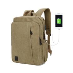 Kain Kanvas Berkualitas Tinggi USB Eksternal Jenis Pengisian Backpack Tas Sekolah Santai Bisnis Perjalanan-Internasional