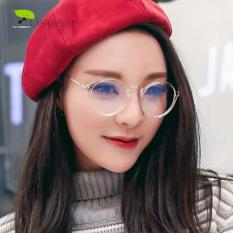 High Quality Charming Women's Round Clear Lens Glasses Metal Frame Nerd Eyeglass Spectacles 830CLEAR - Kacamata Pria dan Wanita