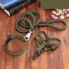 Beli Kualitas Tinggi Nilon Tali Pengikat Dada Pet Anjing Kerah Tali Traksi Dipasang Sizem Hijau Tentara Yang Bagus