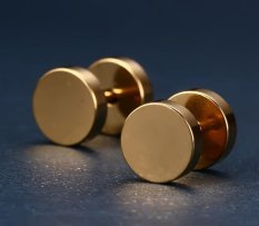 Tinggi Kualitas Store Baru Mens Womens 8mm Stainless Steel Earrings Barbel Giwang Tindik Plugs Tunnel Punk Gaya Gothic Perhiasan Emas-Intl