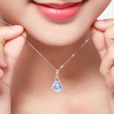 Tinggi kualitas Store baru baru Women 925 Sterling Silver safir perhiasan batu permata liontin jaringan kalung