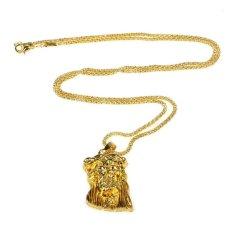 Hip Hop Yesus Kristus Kalung 24 K Emas Pria Perhiasan Koridor Timur-Intl
