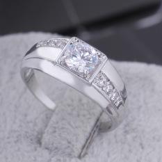 HKS Baru Putih Berlapis Emas Persegi Panjang Zamrud Asli Dipotong CZ Diamond Cincin Kawin 18mm