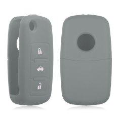 HKS Silikon Remote Kunci Fob Wadah Kulit Cover 3 Tombol Cocok untuk VW Kursi Skoda Grey