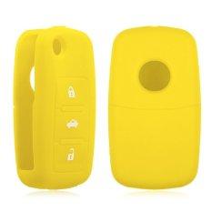HKS Silikon Remote Kunci Fob wadah Kulit Cover 3 Tombol Cocok Untuk VW Kursi Skoda Kuning