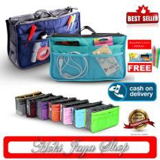 HOKI COD - Korea Dual Bag In Bag Organizer Tas Dalam Tas Korea - Eksklusif Premium New Style - Multi Colour + Gratis Pulpen Lilin Unik Serba Guna Hitam Pekat - 1 Pcs