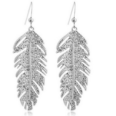 HomeGarden Jual Hot Fashion Bohemian Alloy Rhinestone Feather Pendant Stud Earrings Perhiasan Perak