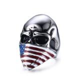 Jual Beli Hot America Bendera Pria Punk Perhiasan Aksesoris Hitam Skull Ring Ukuran 7 11 Intl Di Tiongkok