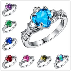 Hot Terbaru Irish Heart Berbentuk Emerald 925 Sterling Silver Ring CZ Claddagh Ukuran 6 7 8 9-Ungu Ukuran #7-Intl
