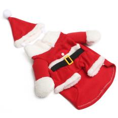 Panas anak hewan peliharaan kucing anjing sebagai Santa Claus Natal kostum baju pakaian busana bermerk S - Internasional