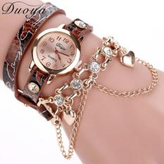 Jual Hot Fashion Mewah Jam Pendant Jantung Gelang Watch Women Wrist Watches Brown