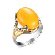 Jual Hot Fashion Stainless Steel Artificial Gemstone Empat Kuku Kuning/Coklat Berlian Imitasi Siswa Perhiasan-Intl