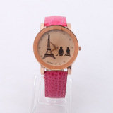 Beli Hot Sale New Fashion Watch Eiffel Tower Couple Wrist Watch Rose Red Dengan Kartu Kredit