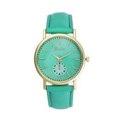 Hot Sale!Geneva Unisex Leather Band Analog Quartz Vogue WristWatch Watches Green - intl